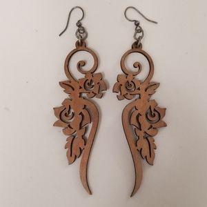 "Carved Wood ROSES 3-1/2"" long earrings LITE WEIGHT"